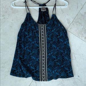 Blue patterned halter top